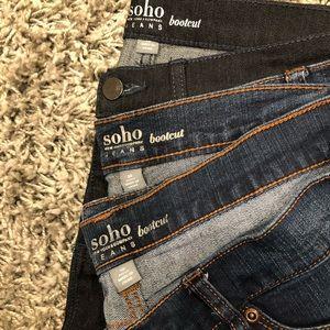 3 pairs of NY&CO Soho Boot Cut Jeans,  Size 10.